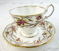 Royal Albert Tea Cup and Saucer, Heather Bell Pattern, Vintage Bone China