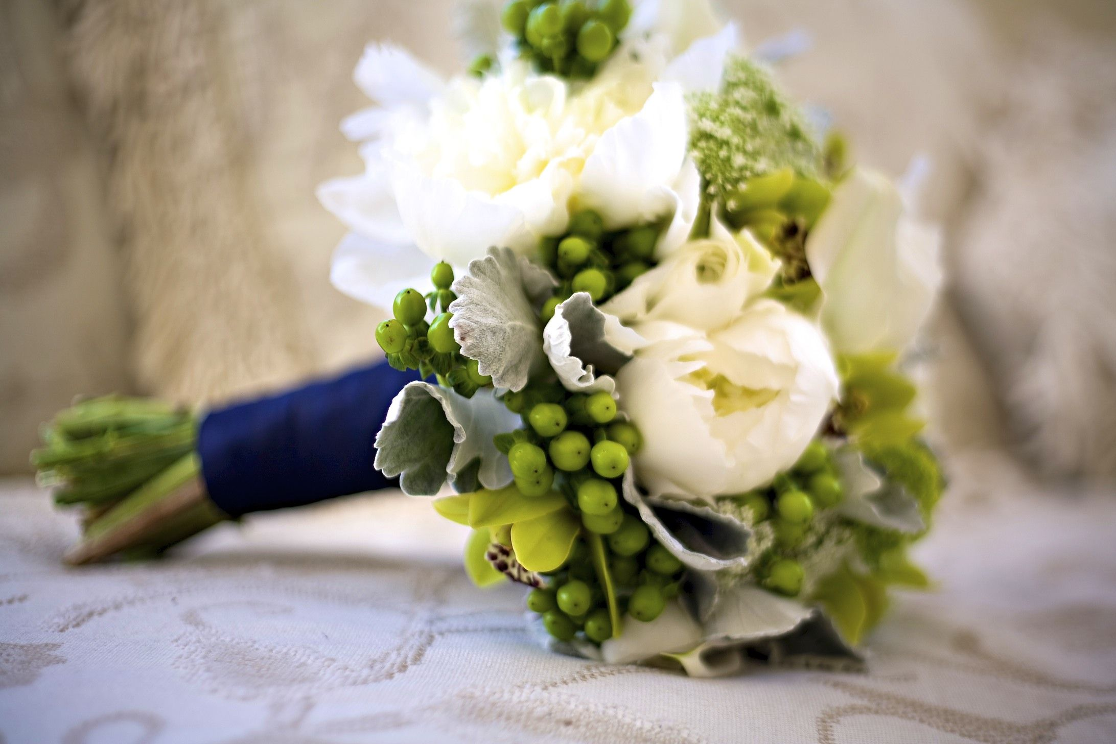 White Green Grey Navy Blue Wedding Bouquet Utah Florist Calie Rose
