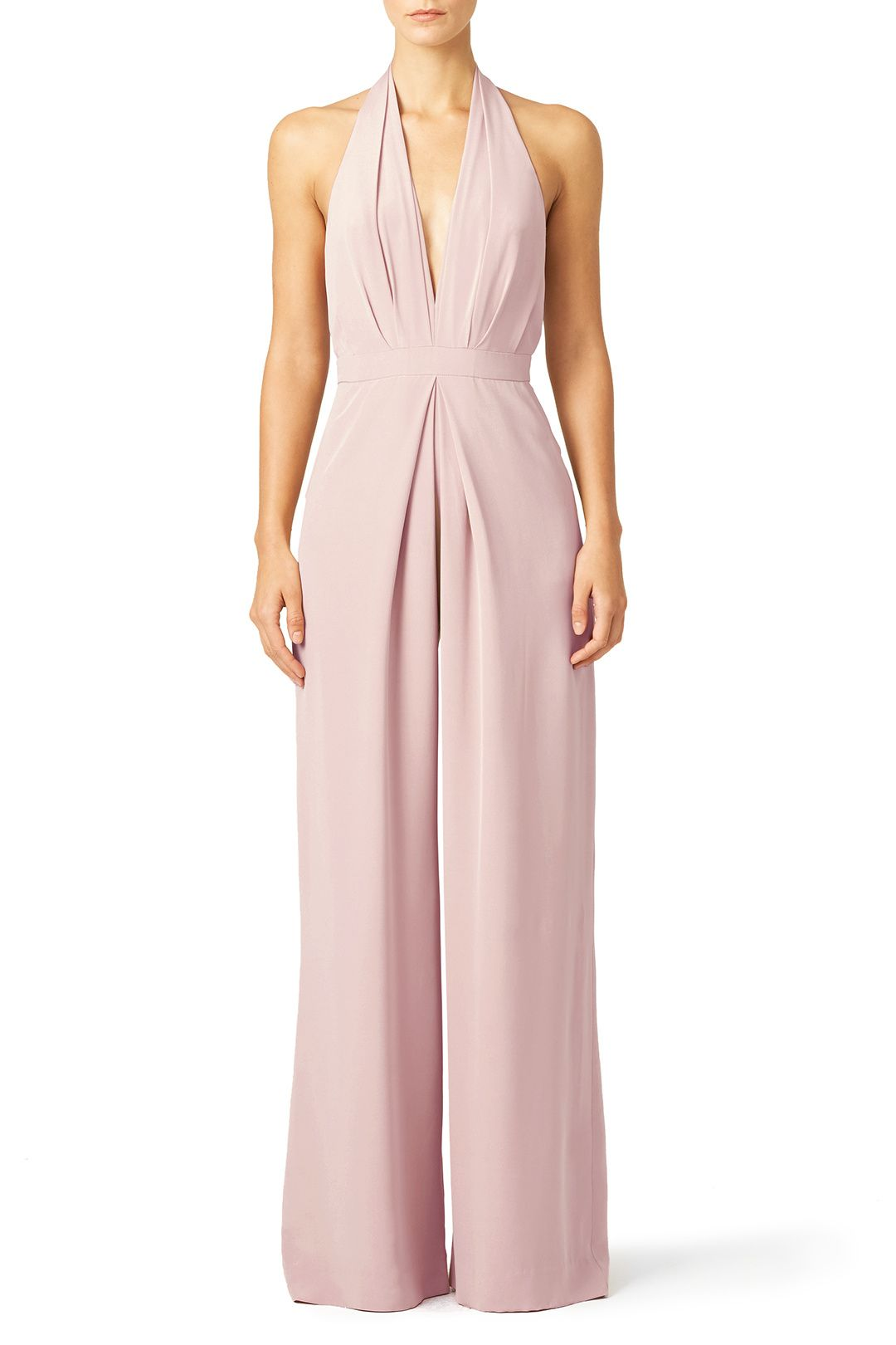 5957c15c117 Crisp pleating and a plunging neckline make this Jill Jill Stuart jumpsuit  both tailored and alluring. We love this look for brides.