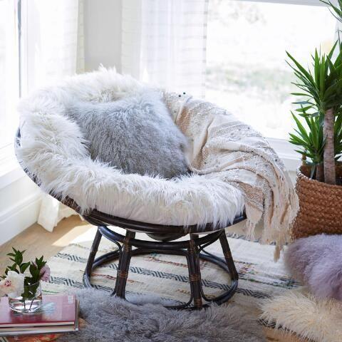 Ivory Mongolian Faux Fur Papasan Cushion World Market Papasan