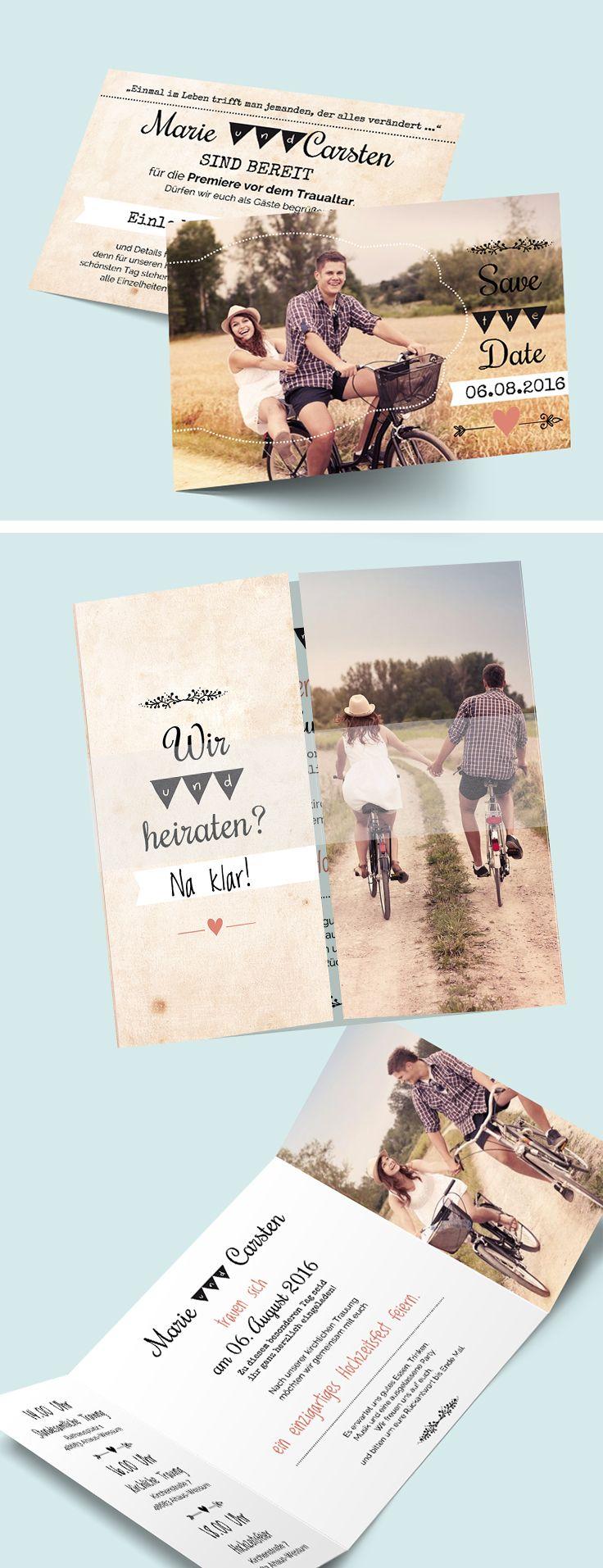 Hochzeitseinladung: Retro Romance. Für Alle, die auf retro Einladungskarten mit frischem Wind stehen. #retroideas