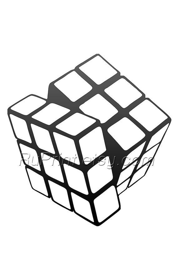 Rubiks Cube Art Poster Black And White Printable Art By Ruprint