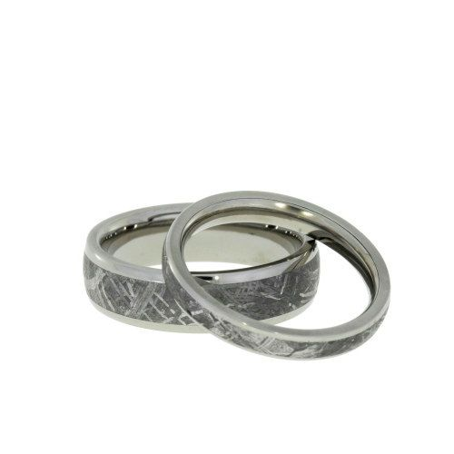 Simple Meteorite Ring Set His and Hers Wedding Band Set Titanium Rings