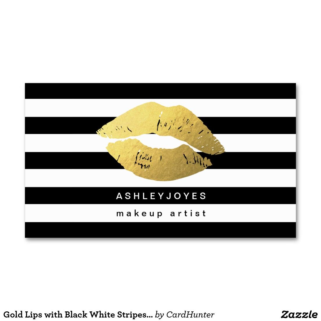 Elegant sturdy black businesscards with rose gold white foil gold lips with black white stripes makeup artist business card magicingreecefo Choice Image