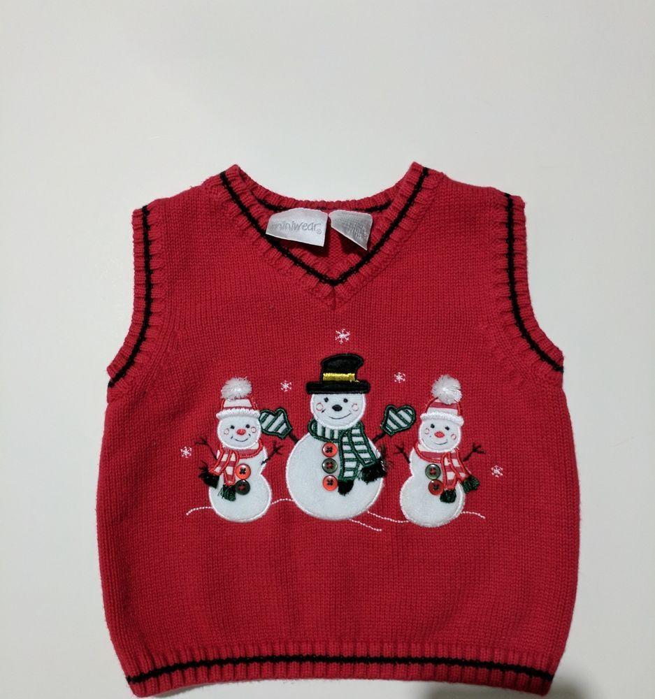 5d61a203d Christmas holiday winter boys sweater vest snowmen 18 months ...