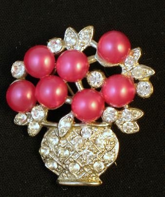 Pink Moonglow Lucite Rhinestone Flower Basket Brooch