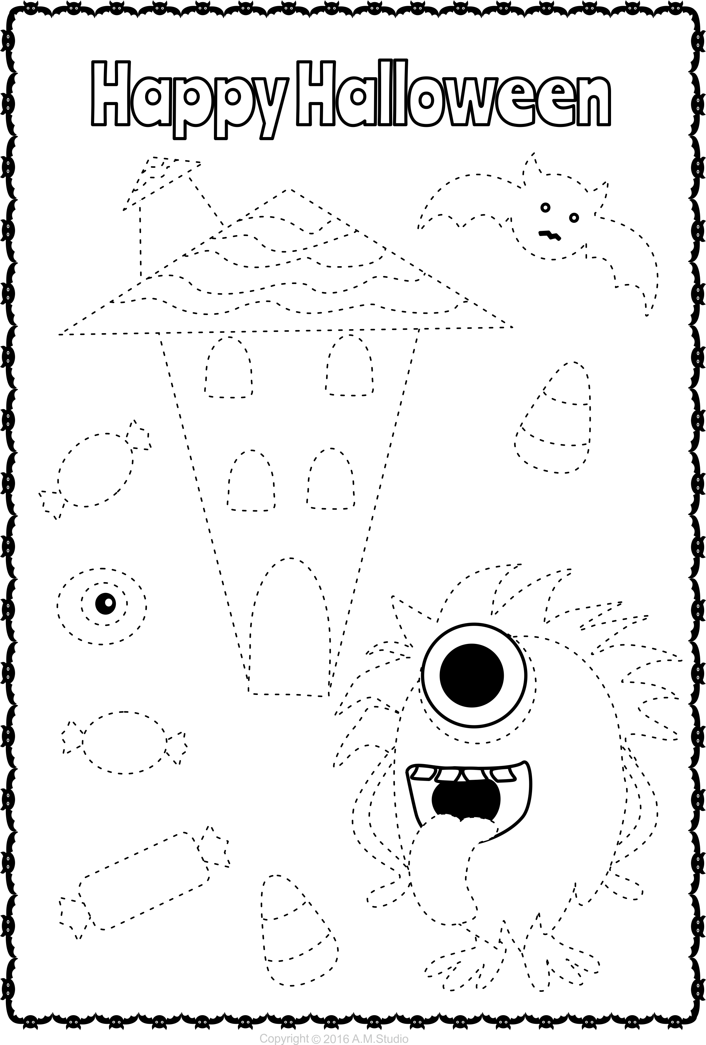 13 Halloween Themed Trace And Color Pages For Kids Halloween Worksheets Halloween Craft Activities Halloween Classroom [ 3400 x 2297 Pixel ]
