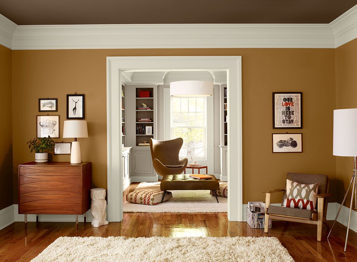 Warm Orange Living Room! Wall Color: Cognac Snifter - Ceiling ...
