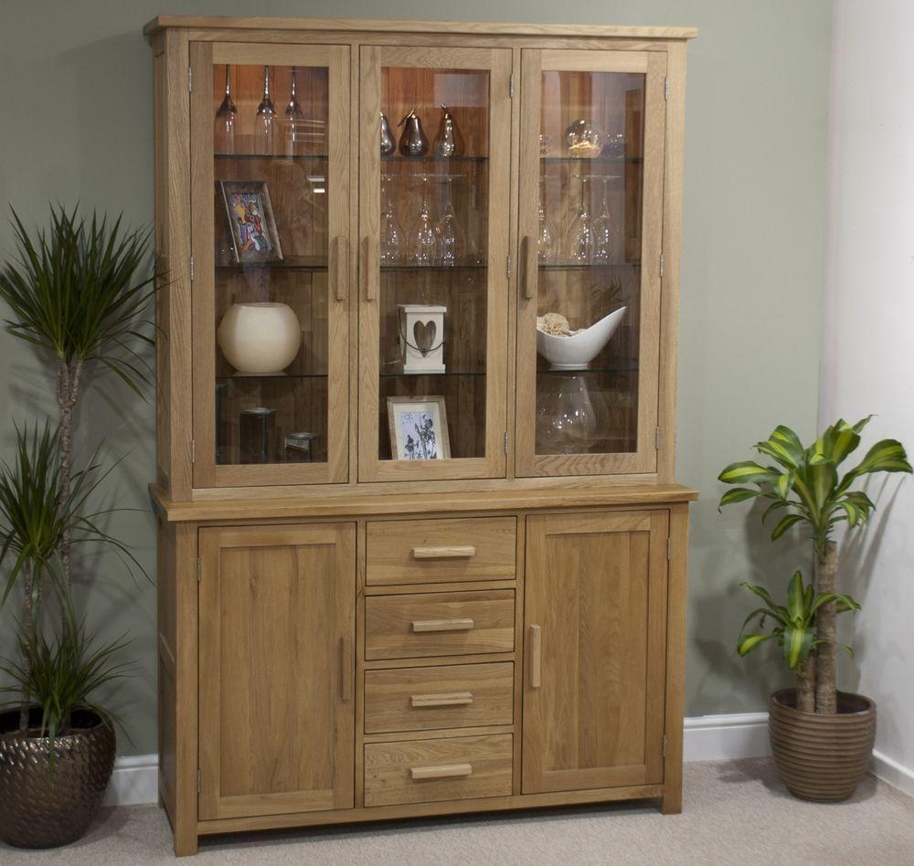 Nero solid oak furniture large glazed dresser display cabinet with