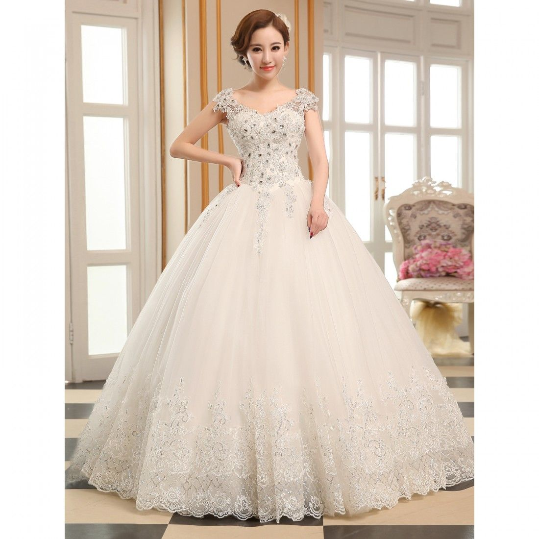 Lightinthebox wedding dresses  Ball Gown Vneck Floorlength Tulle Wedding Dress  Class with a
