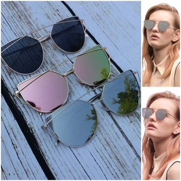 69668775821c Iconic Cross-Wire Mirror Aviator Sunnies Retro cat eye cross wire aviator  sunglasses. Lens diameter approx. 57mm. Available in  •Black gold •Silver  silver ...