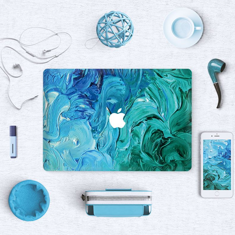 Macbook Skin Decal Sticker Teal Aqua Painting Macbook