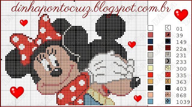 Dinha Ponto Cruz: Mickey e Minnie dia dos namorados para bordar