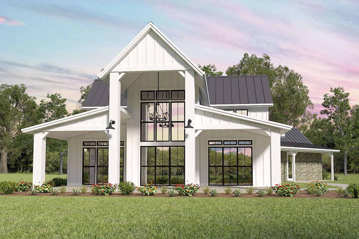Plan 85316ms Modern Farmhouse Plan With Great Views To The Back In 2020 Modern Farmhouse Plans Modern Barn House Courtyard House Plans