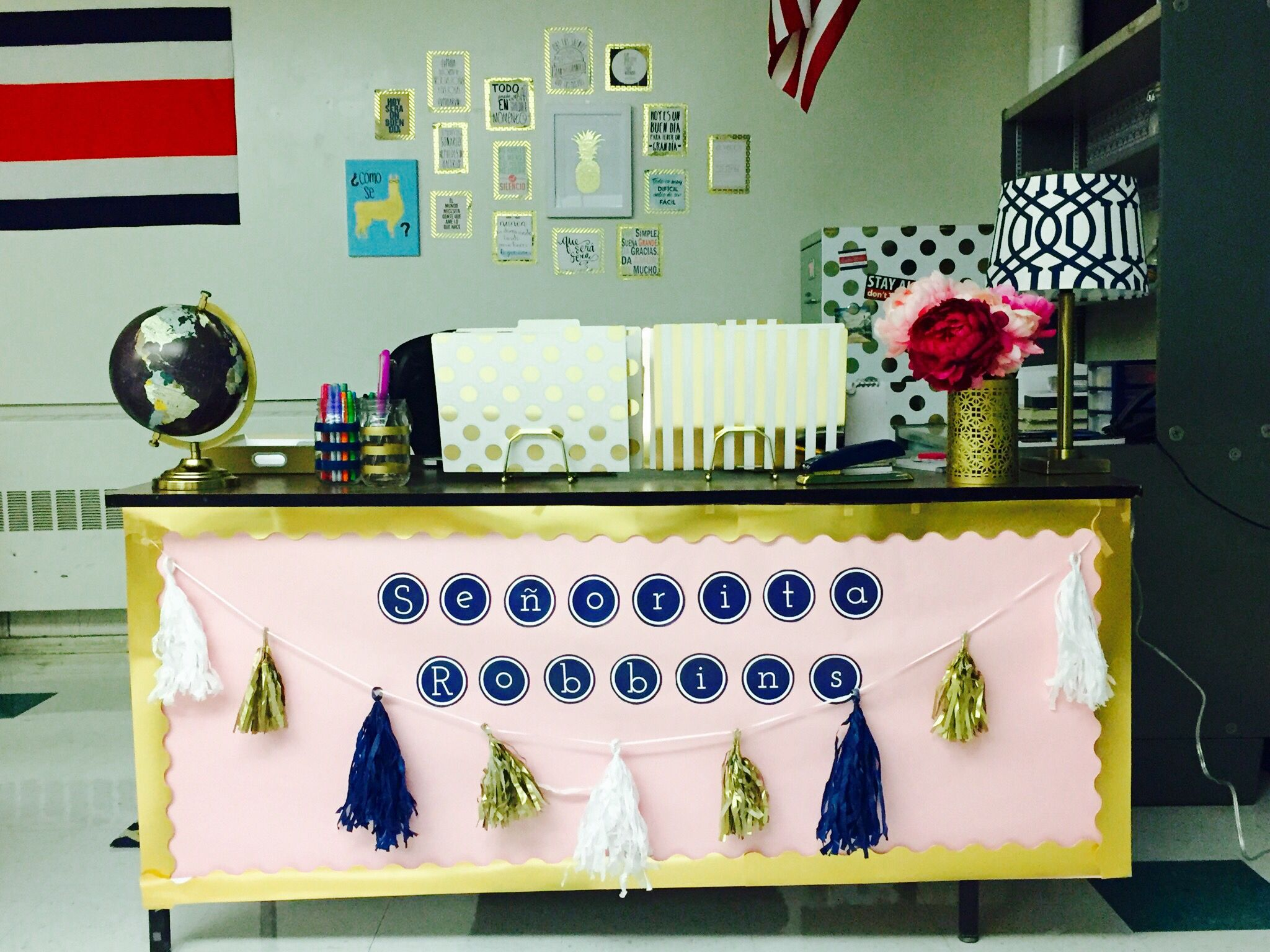 Gold Navy Pink Classroom Decor Pink Classroom Decor Pink Classroom Teacher Desk Decorations