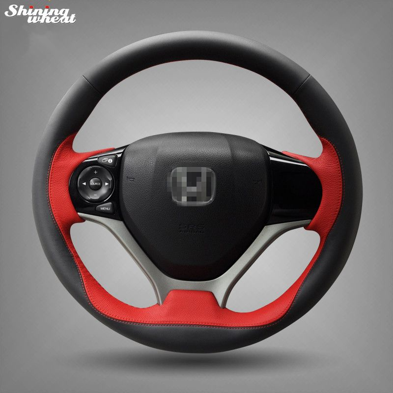 Shining Wheat Hand Stitched Black Red Leather Steering Wheel Cover For Honda Civic 2012 2013 2014 Car Special Honda Civic 2012 Honda Civic Steering Wheel Cover