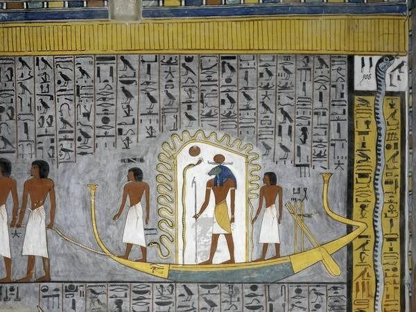 Mural painting of Ra in solar bark in burial chamber from the Tomb of Ramesses I KV16, 19th Dynasty, c. 1290 BC. Valley of the Kings, Luxor. The burial place was discovered by Giovanni Belzoni in October 1817.