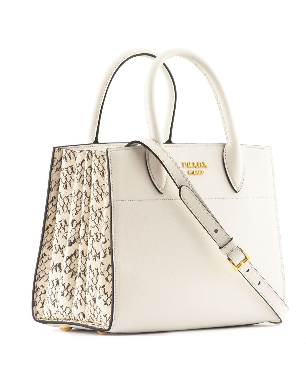 185bca84c0ac Prada | Multicolor Bibliotèque Leather And Snakeskin Shoulder Bag | Lyst  White Shoulders, Tote Purse