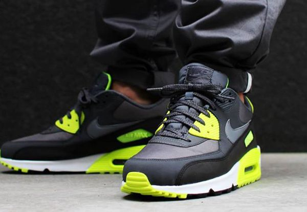 nike air max 90 essential dark grey volt neon christmas