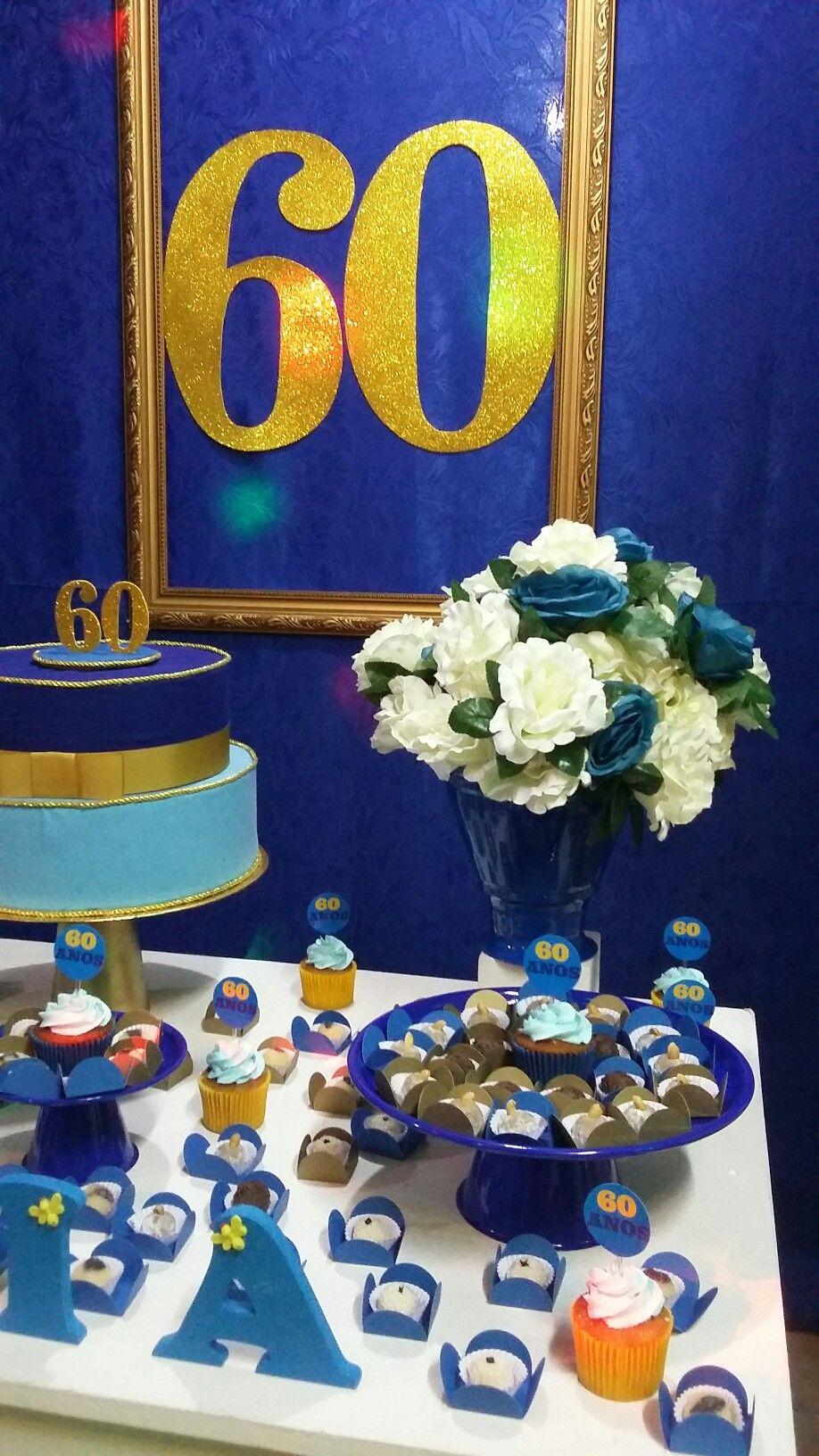 Aniversário de 60 anos,nas cores,azul,branco e dourado.
