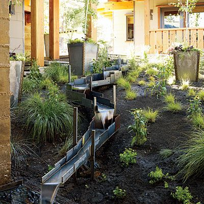 Garden fountain ... Could we make this safe and create a kid's water slide.