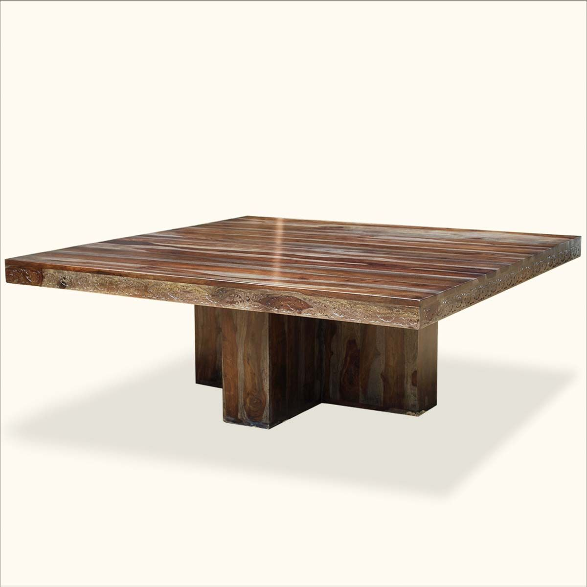dallas ranch solid wood pedestal rustic large square dining room table - Square Wood Dining Table