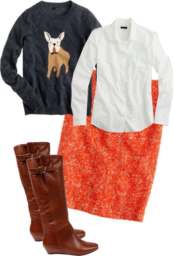 """J. Crew Frenchie Sweater and No. 2 Pencil Skirt in Corkscrew Tweed"""