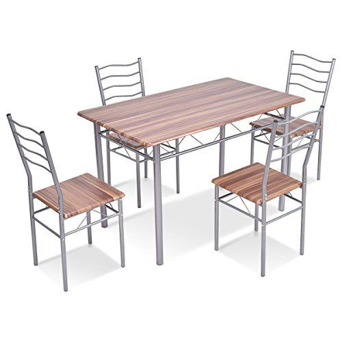 5 pcs Wood Metal Dining Table and Chairs Set Dining Room 4 in 2018