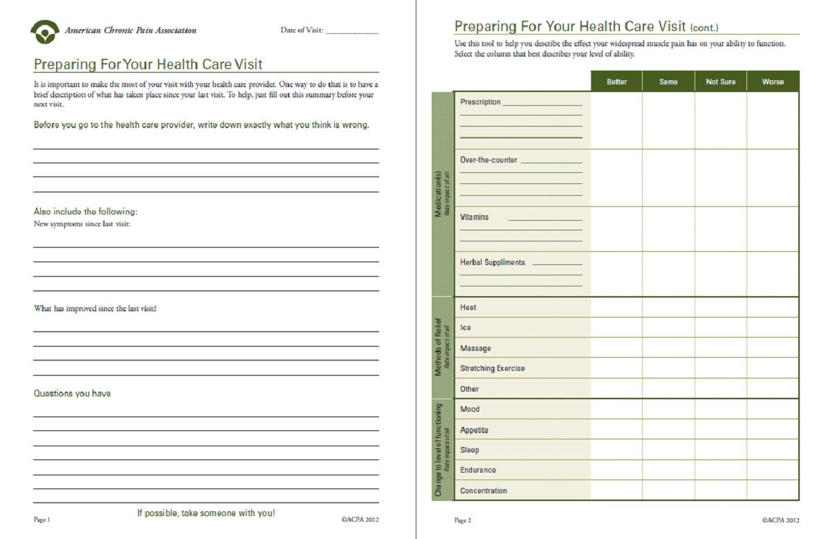 Prepare For Your Visit Fill Out This Helpful Summary