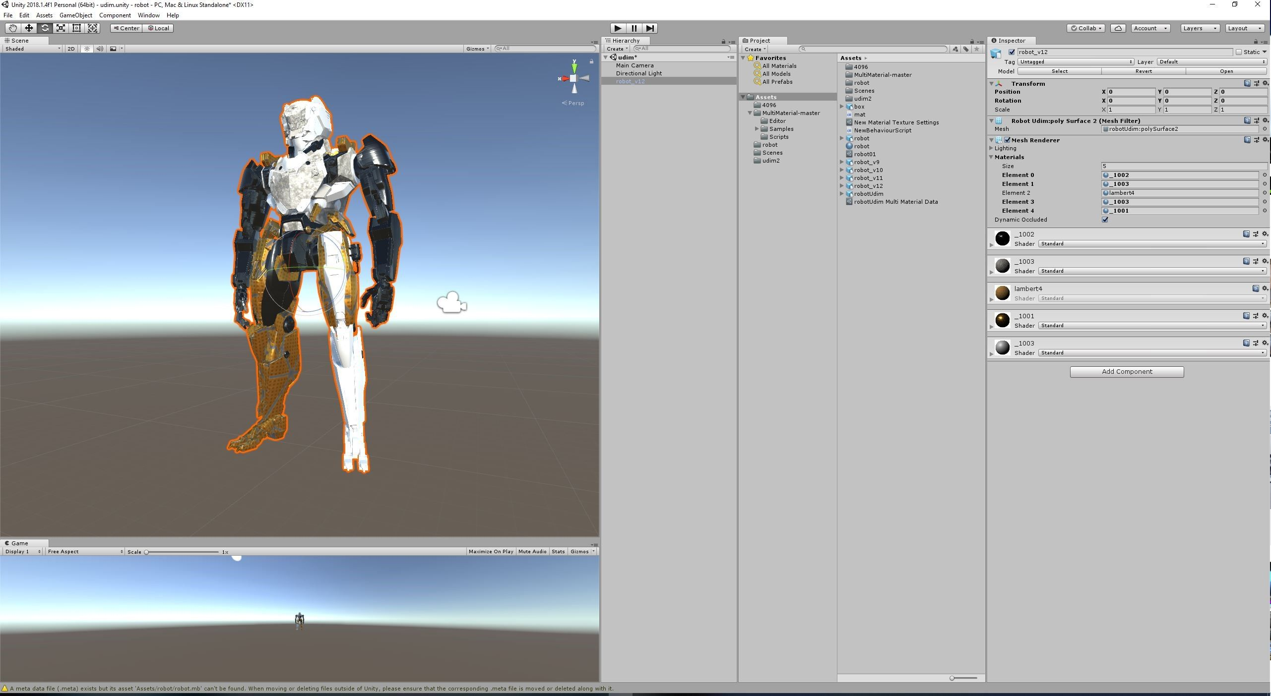 Unity Test UDIM it's need to assign materials to face before