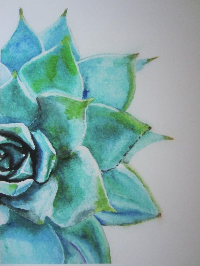 Bleu Vert Succulent Des Fleurs De Cerisier Watercolor Art