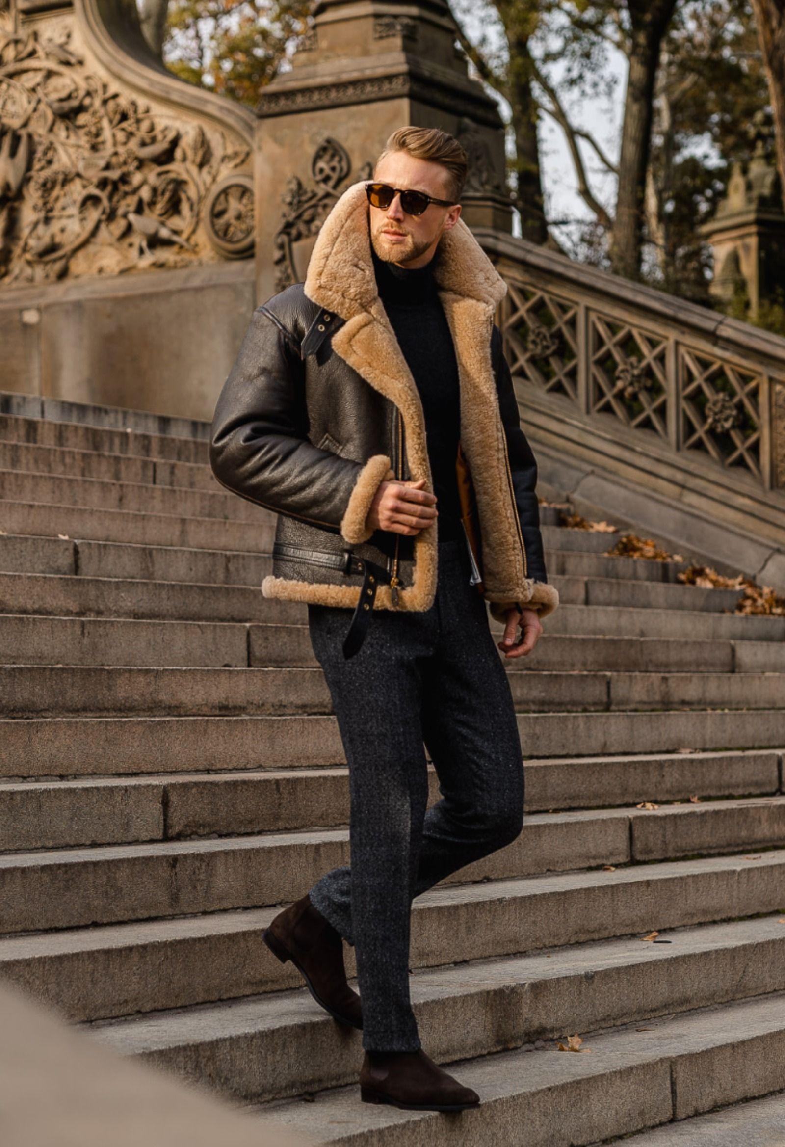 R A F Sheepskin Bomber Jacket Z2109 Fall Outfits Men Winter Outfits Men Mens Shearling Jacket [ 2337 x 1600 Pixel ]