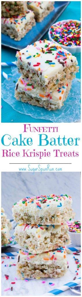 Funfetti Cake Batter Rice Krispie Treats with a Cake Batter Fudge Frosting #ricekrispiestreats