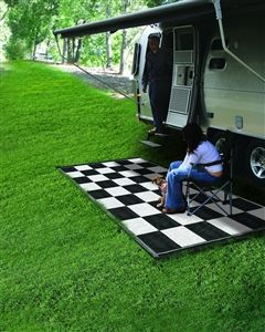 Camco 42884 Reversible Rv Outdoor Mat Black White Checkered