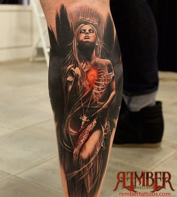 50 amazing calf tattoos serenity spiritual and angel for Badass angel tattoos
