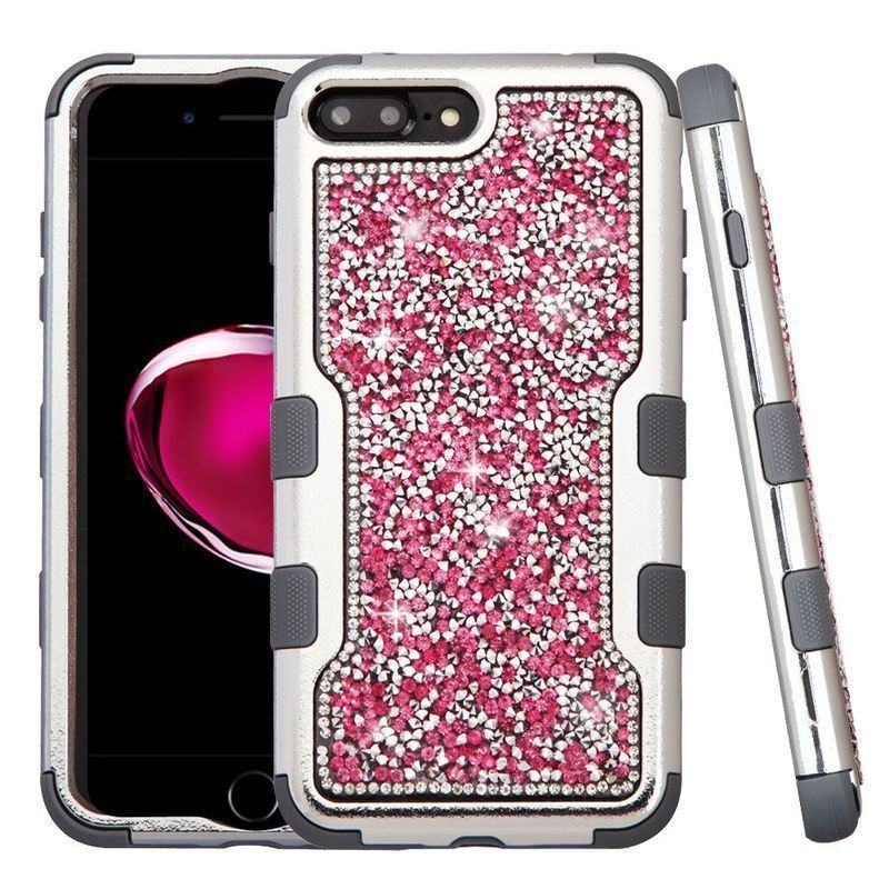 Insten Hard PC/ Silicone Dual Layer Hybrid Rhinestone Bling Case Cover For Apple iPhone 7 Plus