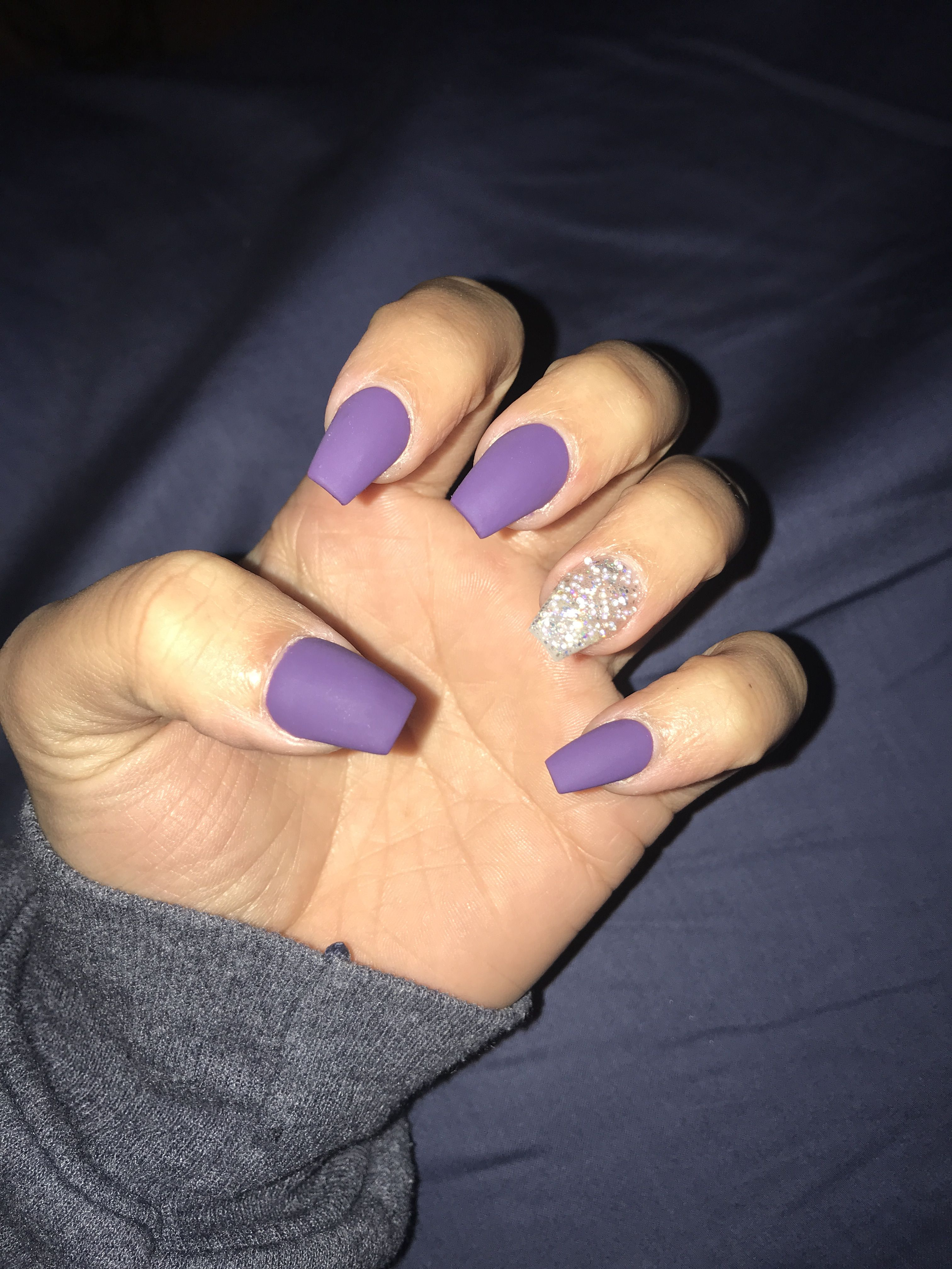 Matte purple nails acrylic coffin, jewels in 2019