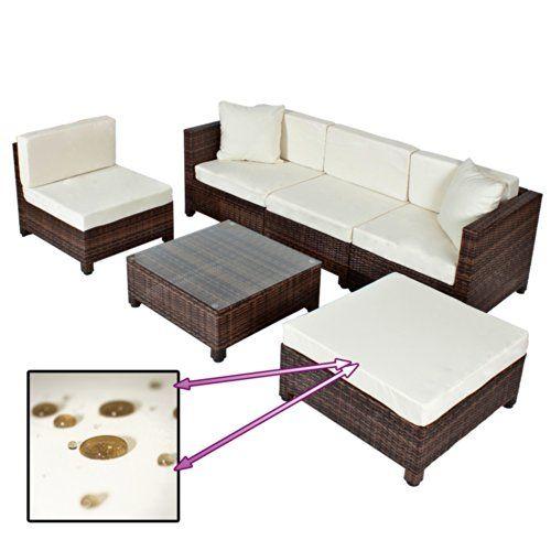 TecTake Conjunto muebles de Jardín en Poly Ratán Aluminio, color mar
