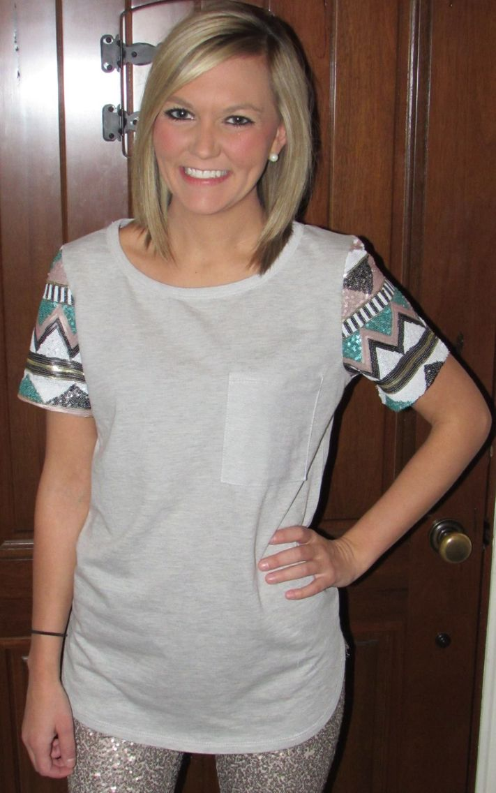 """Our """"She Sparkles"""" top goes perfect with our """"She's got a heart of gold"""" leggings! $32 with free shipping! Visit www.facebook.com/shopbrittnicoles"""