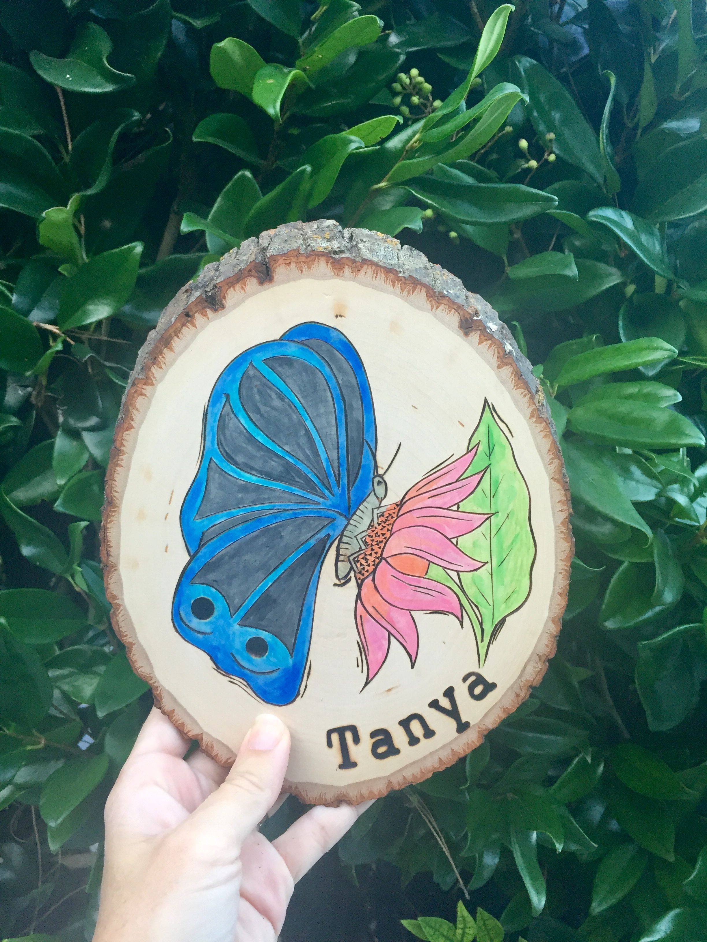 Handmade wood art with any kidus name and design element wood burned