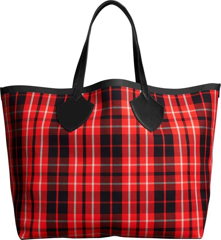 d49e58000aa3 Burberry The Giant Reversible Tote Bag in Vibrant Red and Black Tartan  Bonded