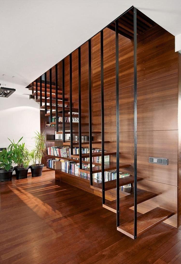 Escalier Bibliothèque Pour Tirer Profit De Chaque Recoin à La Maison Stairs Design Modern Stair Railing Design Staircase Design