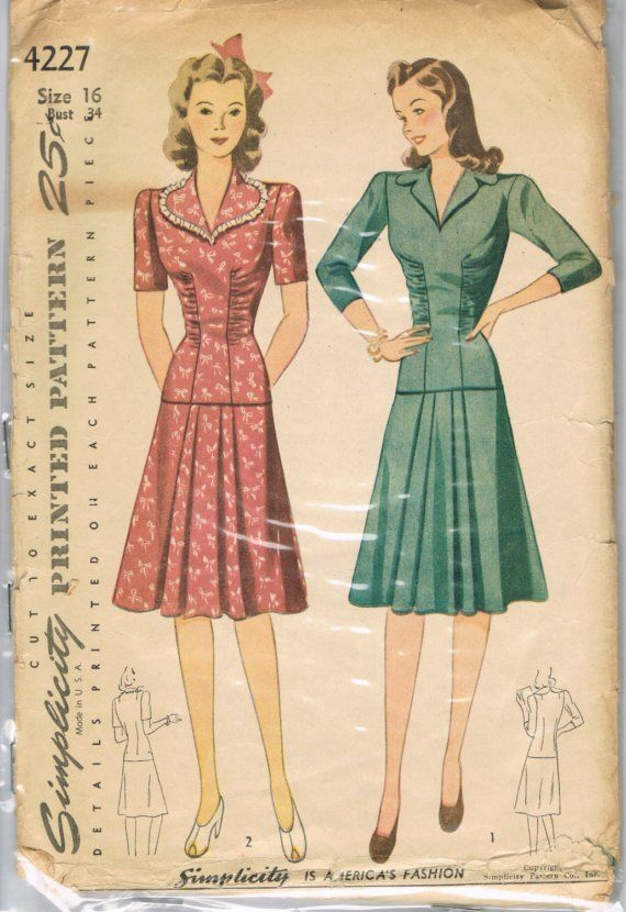 1940s Dress Pattern Simplicity 4227 Vintage Bombshell Sale Pinup