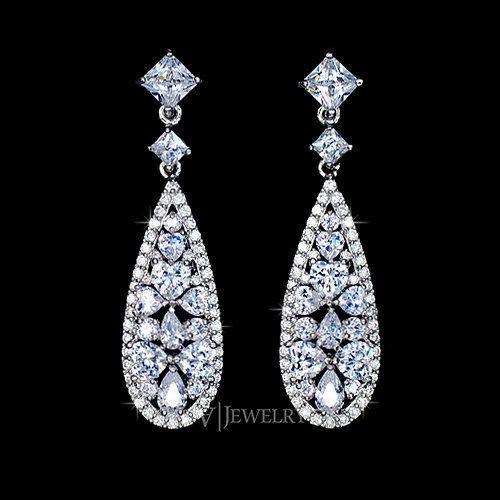 Drop Full Pave Cubic Zirconia Wedding Earrings By AmodeJewelry
