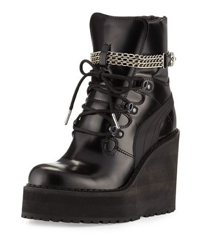 wholesale dealer 316c4 5af2e X3AHX FENTY PUMA by Rihanna Leather Wedge Chain Ankle Boot ...