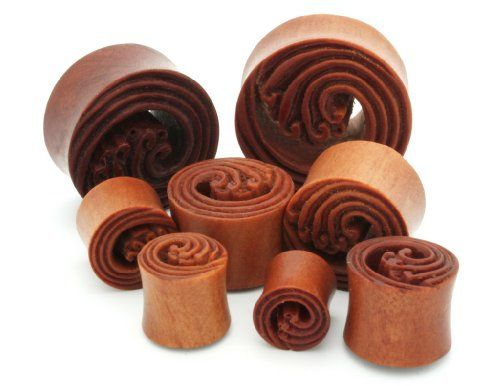 00g 10mm Sawo Wood Tsunami Wave Double Flared Ear Gauges Plugs (Sold By Pair)