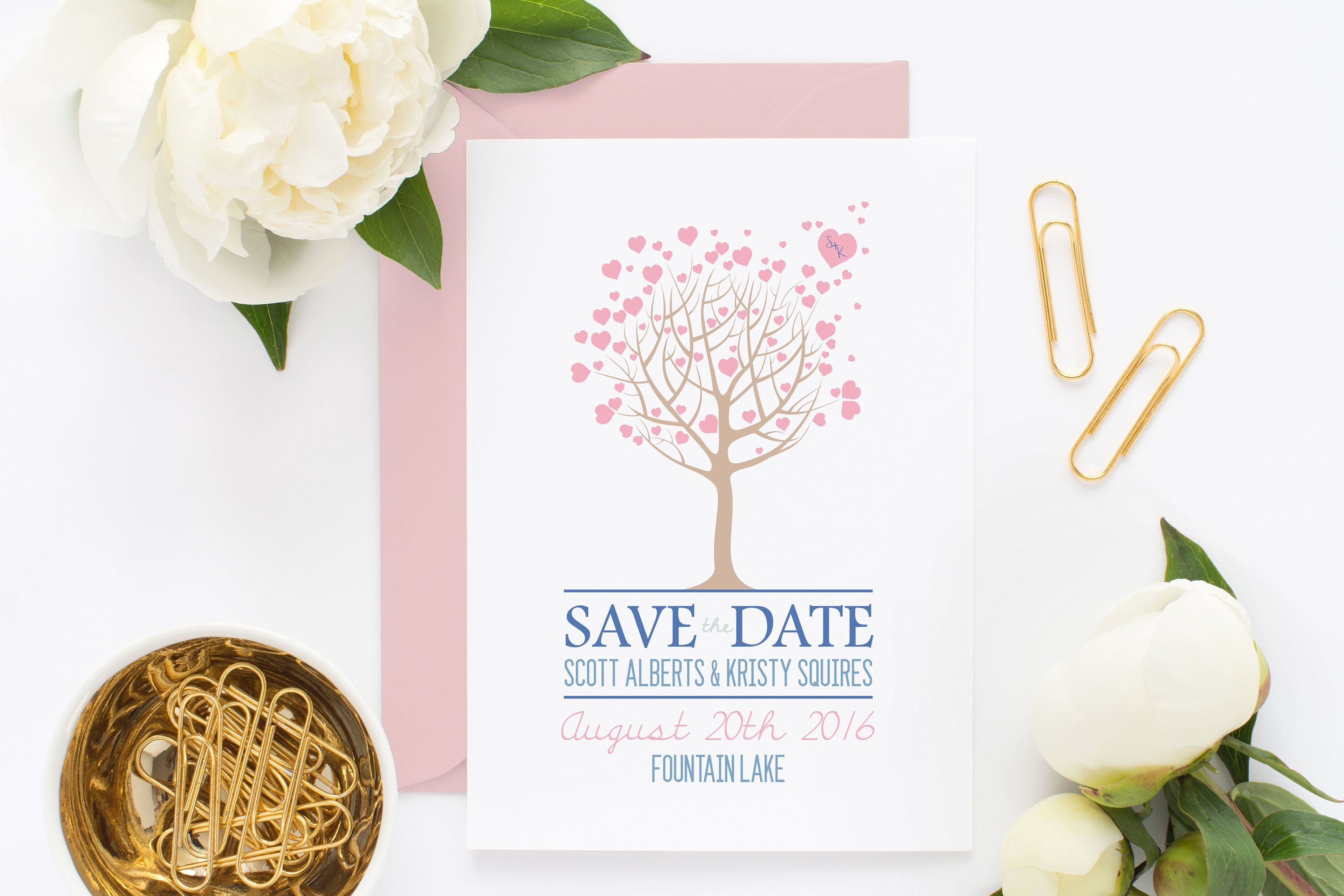 Tree Save the Date ~ Tree Wedding Invitation ~ Heart Tree ~ Love ...