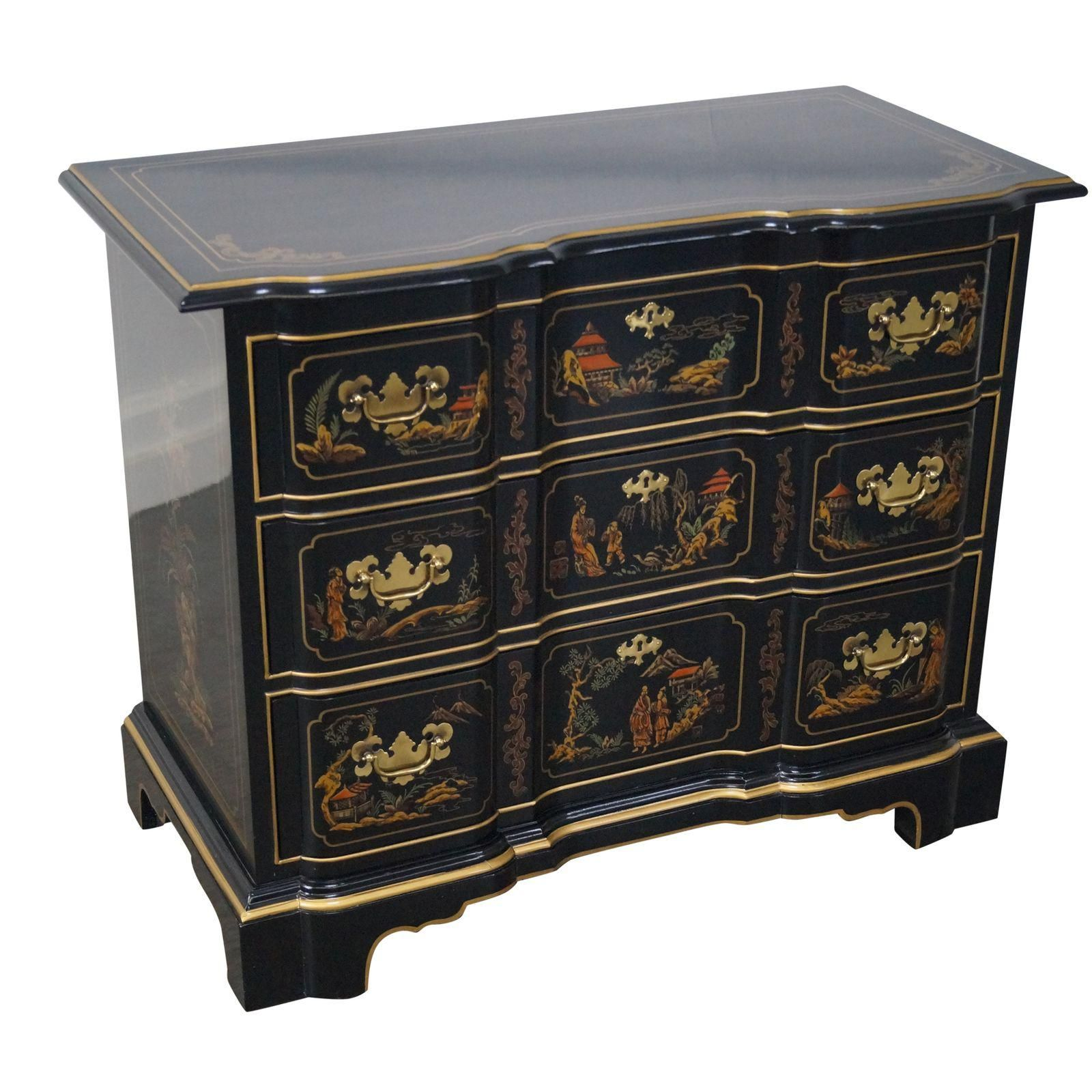 Image Of Drexel Heritage Black Lacquer Chinoiserie Chest