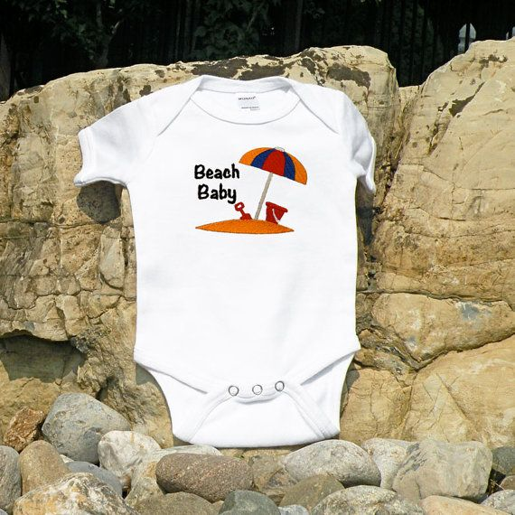 Beach Baby Embroidered Baby One Piece by JustBreApparel on Etsy