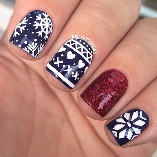 31 Cute Winter-Inspired Nail Art Designs | Winter holidays, Manicure ...